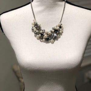 "Jewelry - Chunky silver, pearl, and ""diamond"" necklace"